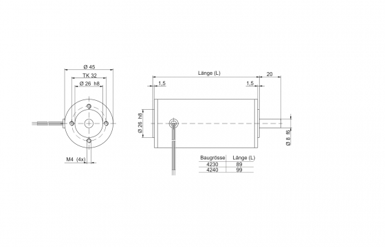 Motor drawing outer diameter 45