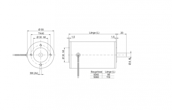 Motor drawing outer diameter 55
