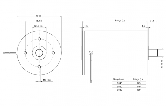 Motor drawing outer diameter 95